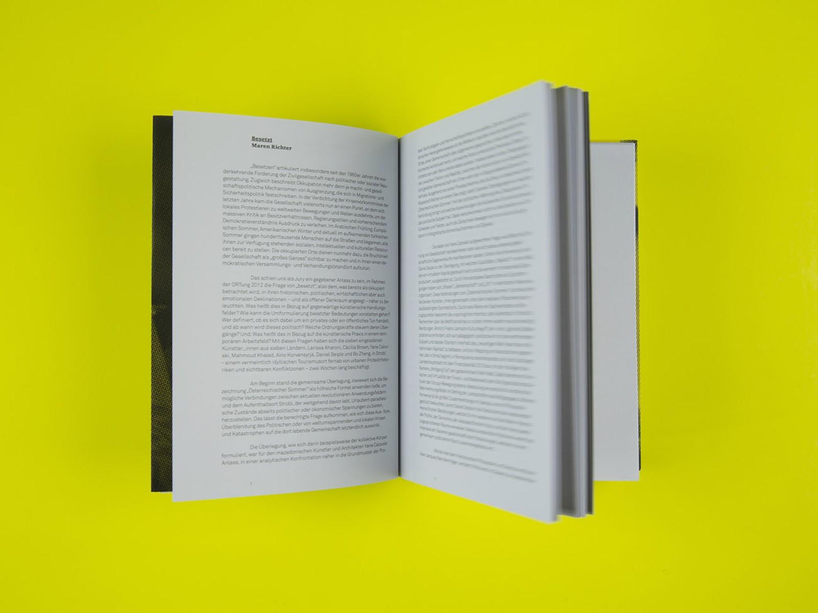 Gestaltung und Layout einer Textdoppelseite des Ausstellungskatalogs Salzburger Kunstverein