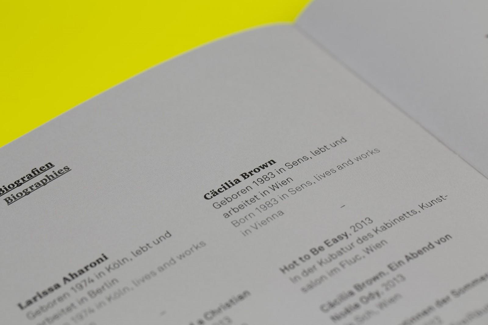 Schriftsatz und Layout der Künstler für den Salzburger Kunstverein