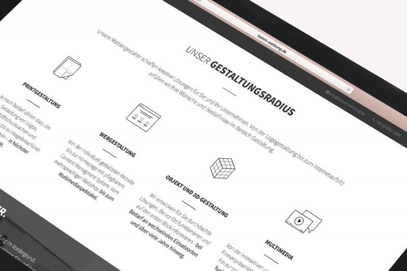 Konzeption und Gestaltung des neuen Webdesigns und der Icons für Hamm-Werbung