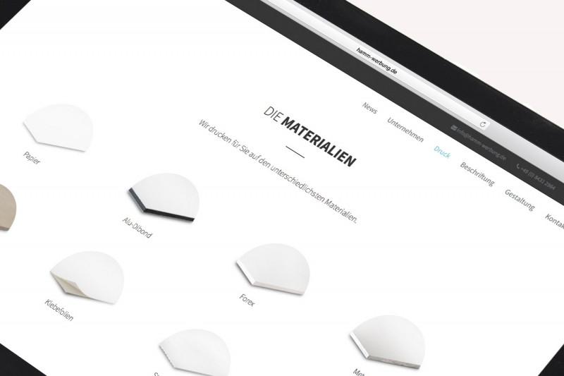 Konzeption und Ausarbeitung der Inhalte für neues Webdesign für Hamm-Werbung